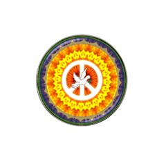 Psychedelic Peace Dove Mandala Golf Ball Marker (for Hat Clip) by StuffOrSomething