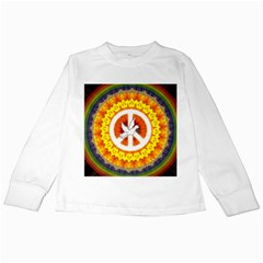 Psychedelic Peace Dove Mandala Kids Long Sleeve T Shirt by StuffOrSomething