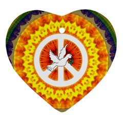 Psychedelic Peace Dove Mandala Heart Ornament (two Sides) by StuffOrSomething
