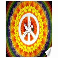 Psychedelic Peace Dove Mandala Canvas 16  X 20  (unframed) by StuffOrSomething
