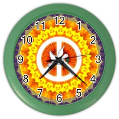 Psychedelic Peace Dove Mandala Wall Clock (color) by StuffOrSomething