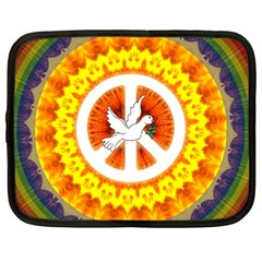 Psychedelic Peace Dove Mandala Netbook Sleeve (xl) by StuffOrSomething