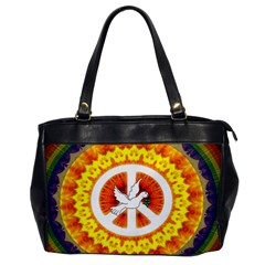 Psychedelic Peace Dove Mandala Oversize Office Handbag (one Side) by StuffOrSomething