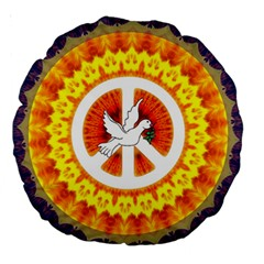 Psychedelic Peace Dove Mandala 18  Premium Round Cushion  by StuffOrSomething