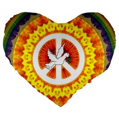 Psychedelic Peace Dove Mandala 19  Premium Heart Shape Cushion by StuffOrSomething