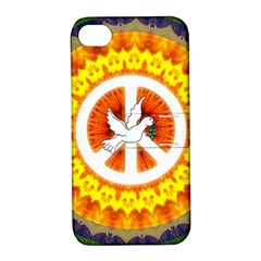 Psychedelic Peace Dove Mandala Apple Iphone 4/4s Hardshell Case With Stand by StuffOrSomething