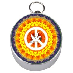Psychedelic Peace Dove Mandala Silver Compass by StuffOrSomething