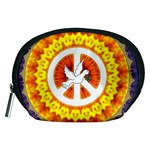 Psychedelic Peace Dove Mandala Accessory Pouch (Medium) Front