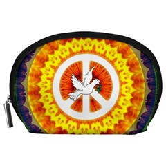 Psychedelic Peace Dove Mandala Accessory Pouch (large) by StuffOrSomething
