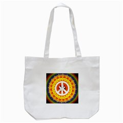 Psychedelic Peace Dove Mandala Tote Bag (white) by StuffOrSomething