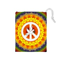 Psychedelic Peace Dove Mandala Drawstring Pouch (medium) by StuffOrSomething