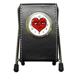 Sad Heart Stationery Holder Clock by dflcprints