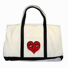 Sad Heart Two Toned Tote Bag by dflcprints