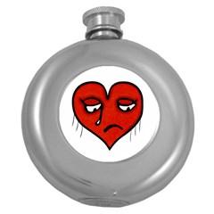 Sad Heart Hip Flask (round) by dflcprints