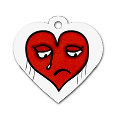 Sad Heart Dog Tag Heart (one Sided)  by dflcprints