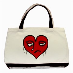 Sad Heart Twin Sided Black Tote Bag by dflcprints