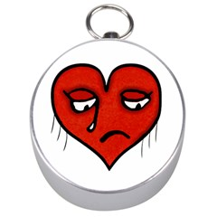 Sad Heart Silver Compass by dflcprints