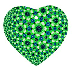 Green Flower Rosette Heart Ornament (two Sides) by rosetteornaments