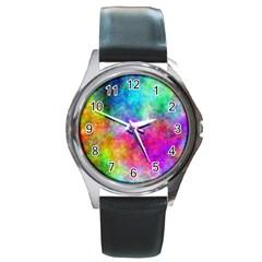 Plasma 22 Round Leather Watch (silver Rim) by BestCustomGiftsForYou