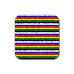Horizontal Basic Colors Curly Stripes Drink Coaster (square) by BestCustomGiftsForYou