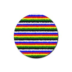 Horizontal Basic Colors Curly Stripes Drink Coasters 4 Pack (round) by BestCustomGiftsForYou