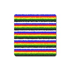 Horizontal Basic Colors Curly Stripes Magnet (square) by BestCustomGiftsForYou