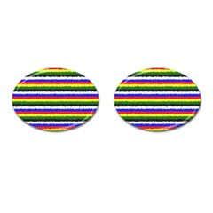 Horizontal Basic Colors Curly Stripes Cufflinks (oval) by BestCustomGiftsForYou