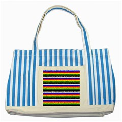 Horizontal Basic Colors Curly Stripes Blue Striped Tote Bag by BestCustomGiftsForYou