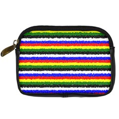 Horizontal Basic Colors Curly Stripes Digital Camera Leather Case by BestCustomGiftsForYou
