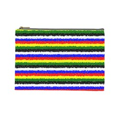 Horizontal Basic Colors Curly Stripes Cosmetic Bag (large) by BestCustomGiftsForYou