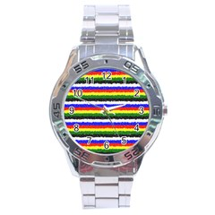 Horizontal Basic Colors Curly Stripes Stainless Steel Watch by BestCustomGiftsForYou