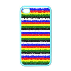 Horizontal Basic Colors Curly Stripes Apple Iphone 4 Case (color) by BestCustomGiftsForYou