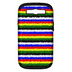 Horizontal Basic Colors Curly Stripes Samsung Galaxy S Iii Hardshell Case (pc+silicone) by BestCustomGiftsForYou
