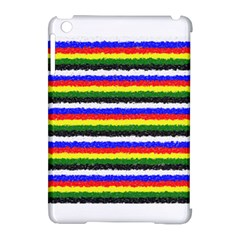 Horizontal Basic Colors Curly Stripes Apple Ipad Mini Hardshell Case (compatible With Smart Cover) by BestCustomGiftsForYou