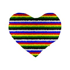 Horizontal Basic Colors Curly Stripes 16  Premium Heart Shape Cushion  by BestCustomGiftsForYou