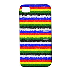 Horizontal Basic Colors Curly Stripes Apple Iphone 4/4s Hardshell Case With Stand by BestCustomGiftsForYou