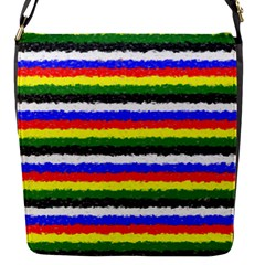 Horizontal Basic Colors Curly Stripes Flap Closure Messenger Bag (small) by BestCustomGiftsForYou