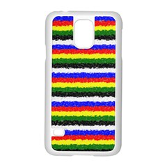 Horizontal Basic Colors Curly Stripes Samsung Galaxy S5 Case (White) by BestCustomGiftsForYou