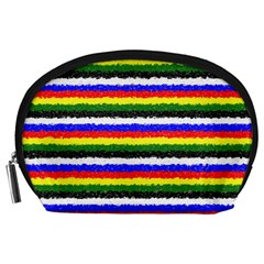 Horizontal Basic Colors Curly Stripes Accessory Pouch (large) by BestCustomGiftsForYou
