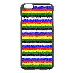 Horizontal Basic Colors Curly Stripes Apple Iphone 6 Plus Black Enamel Case