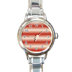 Horizontal Red Curly Stripes Round Italian Charm Watch by BestCustomGiftsForYou
