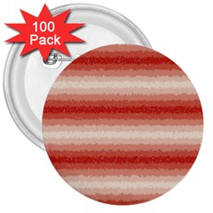 Horizontal Red Curly Stripes 3  Button (100 Pack) by BestCustomGiftsForYou