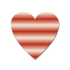 Horizontal Red Curly Stripes Magnet (heart) by BestCustomGiftsForYou