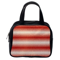 Horizontal Red Curly Stripes Classic Handbag (one Side) by BestCustomGiftsForYou