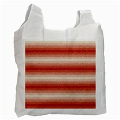 Horizontal Red Curly Stripes White Reusable Bag (one Side) by BestCustomGiftsForYou