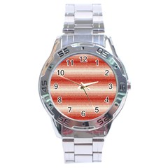 Horizontal Red Curly Stripes Stainless Steel Watch by BestCustomGiftsForYou