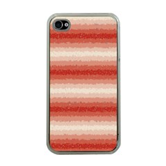 Horizontal Red Curly Stripes Apple Iphone 4 Case (clear) by BestCustomGiftsForYou
