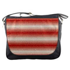 Horizontal Red Curly Stripes Messenger Bag by BestCustomGiftsForYou