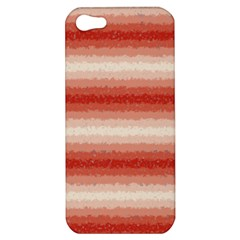 Horizontal Red Curly Stripes Apple Iphone 5 Hardshell Case by BestCustomGiftsForYou