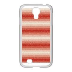Horizontal Red Curly Stripes Samsung Galaxy S4 I9500/ I9505 Case (white)